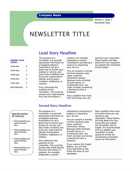 Newsletter (Capsules design, 4 pages)