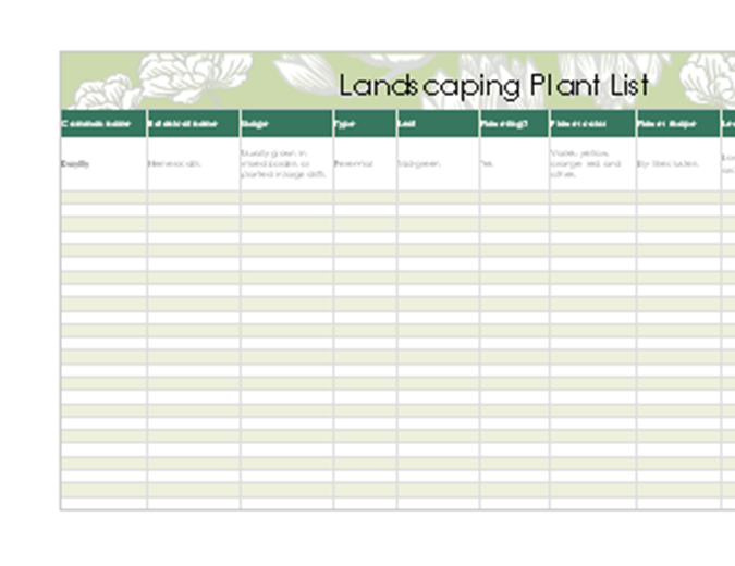 Landscaping plant list