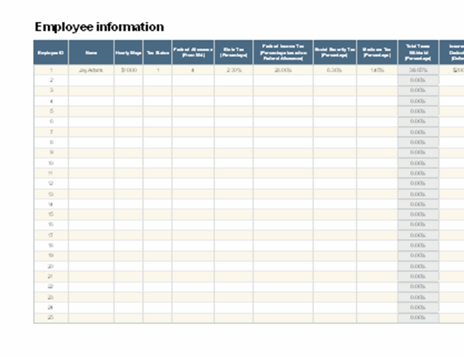 Employee payroll calculator