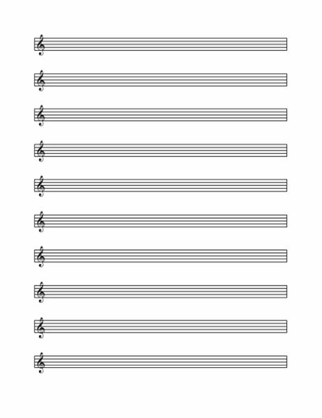 Treble clef staff (10 per page)