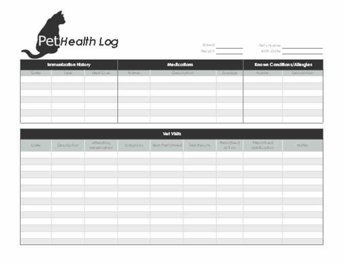 Pet health log