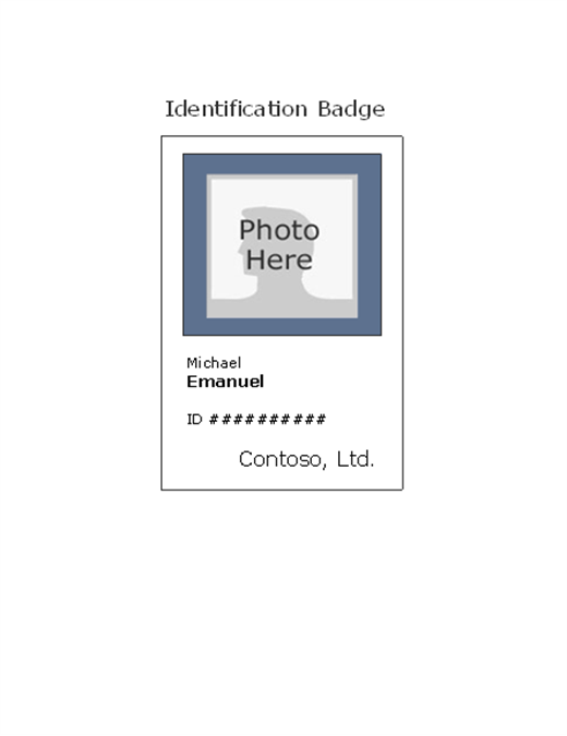 Employee photo ID badge (portrait)