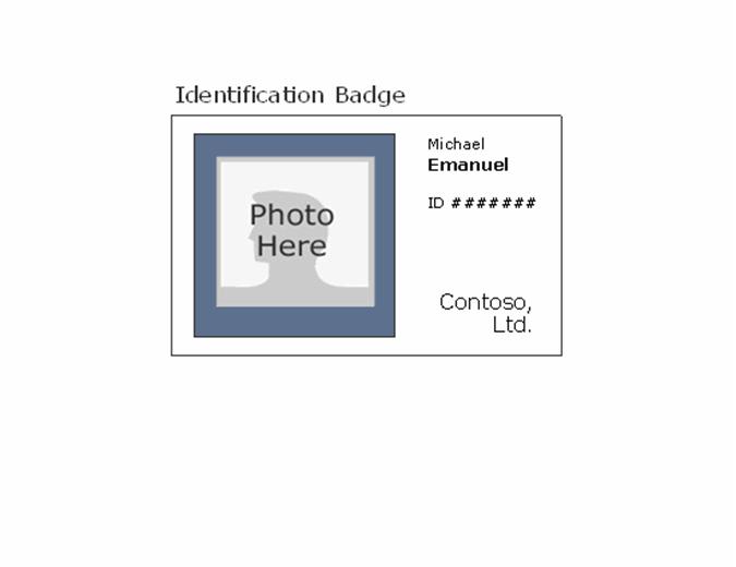 Employee photo ID badge (landscape)