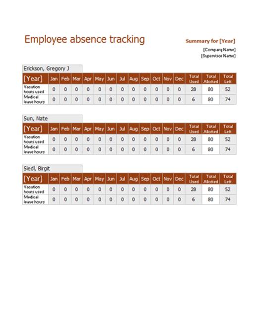 Employee absence tracker