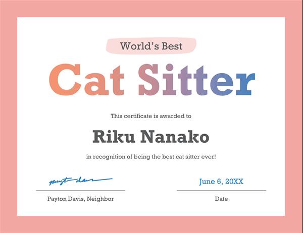 World's Best award certificate