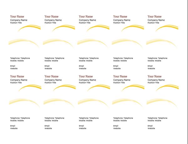 Business cards (Burgundy Wave design, 10 per page)
