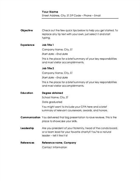 Chronological resume (Minimalist design)