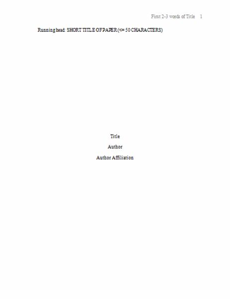 APA paper format