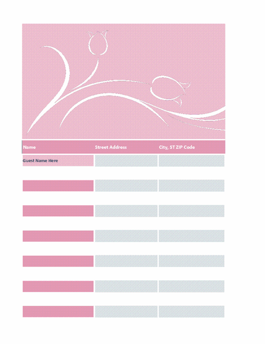 Wedding guest list (tulip design)