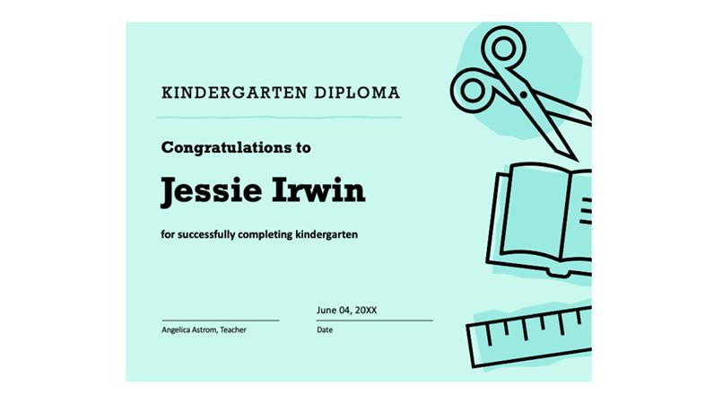 Kindergarten diploma certificate
