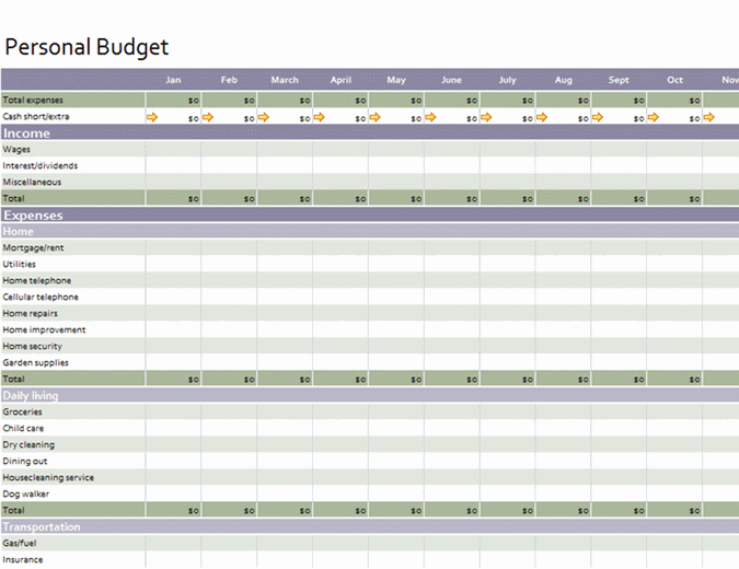 Basic personal budget