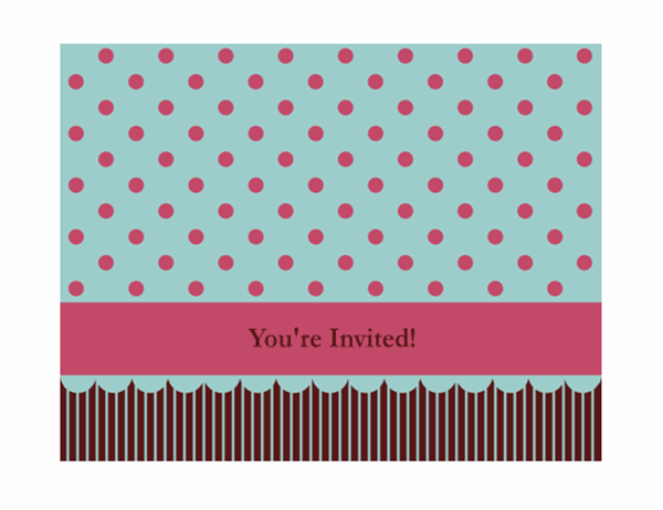 Invitation note card (pink and blue, quarter-fold, A2 size)