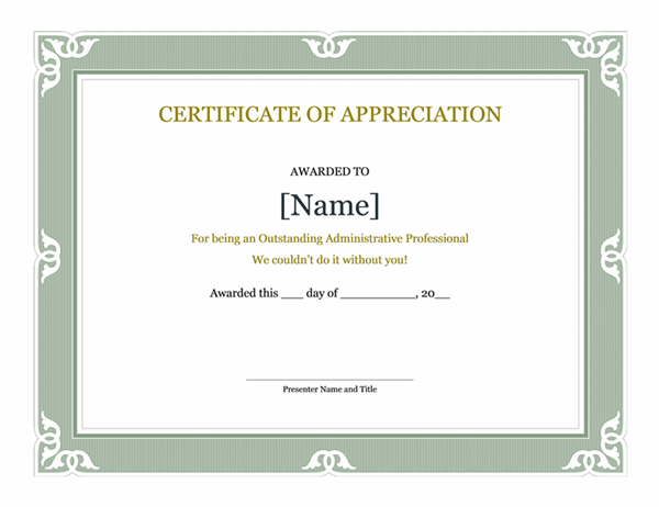 Certificate of recognition for administrative professional