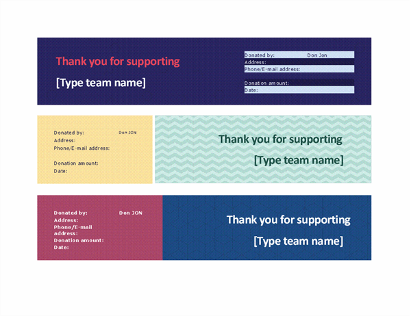 Team fundraiser receipt (3 per page)