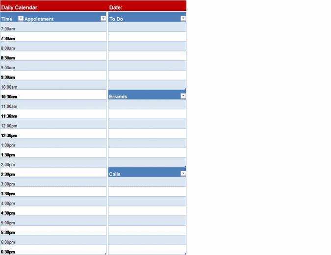 Blank daily calendar