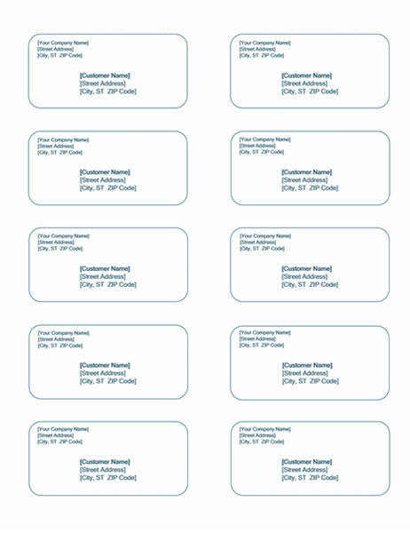 Shipping labels (Blue Background design, 10 per page)