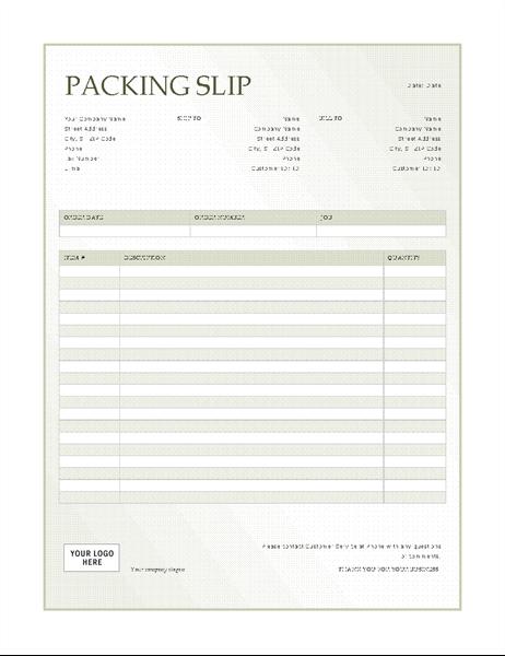 Packing slip (Green Gradient design)