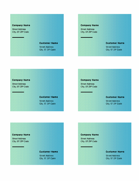 Shipping labels (Green Gradient design, 6 per page, works with Avery 5164)