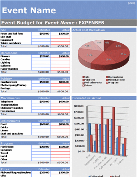 Event Budget With Cost Breakdown