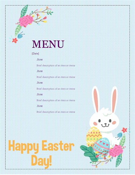 Easter party menu
