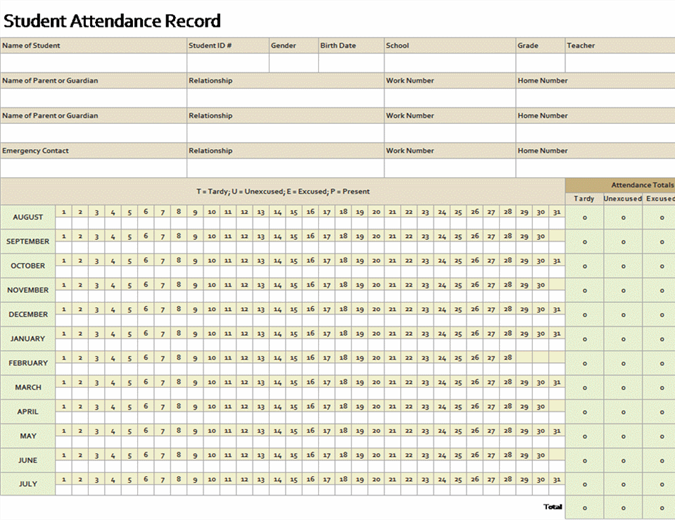 Student attendance record (simple)