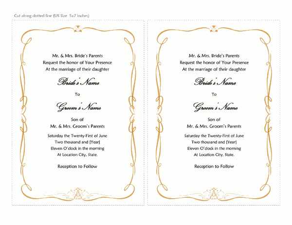 Wedding invitations (Heart Scroll design, A7 size, 2 per page)
