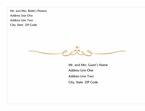 Wedding invitation envelope (Heart Scroll design, A7 size)