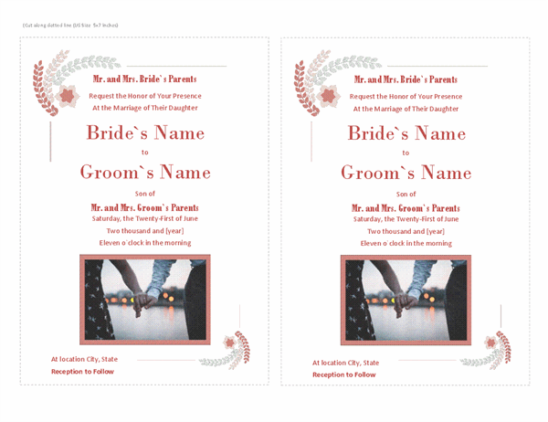 Wedding invitation (with room for photo)