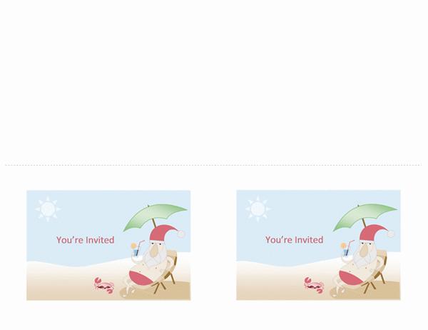 Party invitation (Summer Santa design, 2 per page, A2 size)