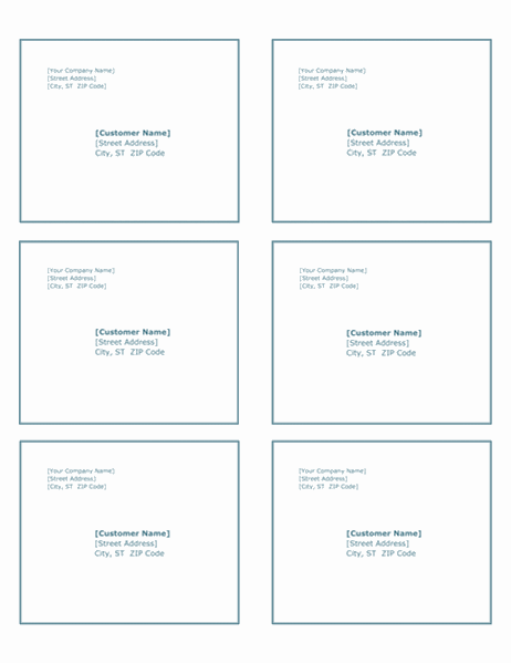 Shipping labels (Blue Border design, 6 per page)