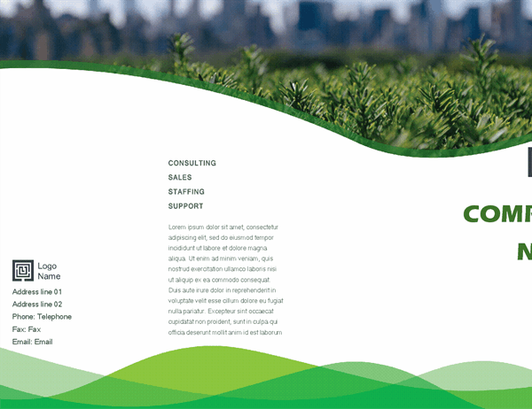 Business brochure (Green Wave design, half-fold)