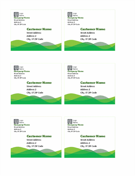 Shipping labels (Green Wave design, 6 per page)