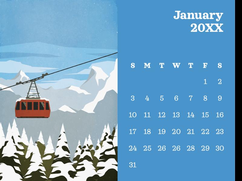Outdoor scenery monthly calendar