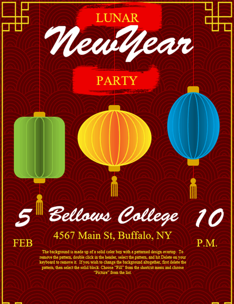 Lanterns Lunar New Year flyer