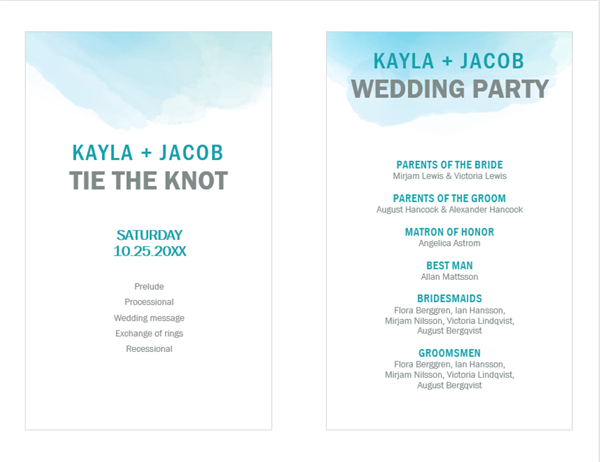 Watercolor wash wedding program