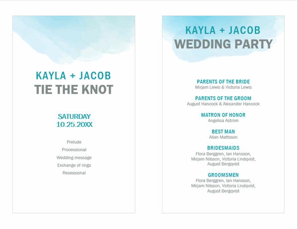 Watercolor wash wedding program
