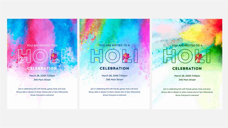 Holi celebration flyer