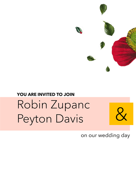 Floral wedding invitation (gender neutral)