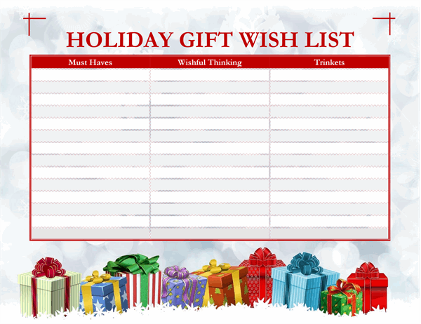Grown-ups holiday wish list