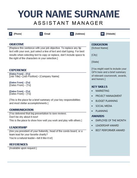 Organized modern resume