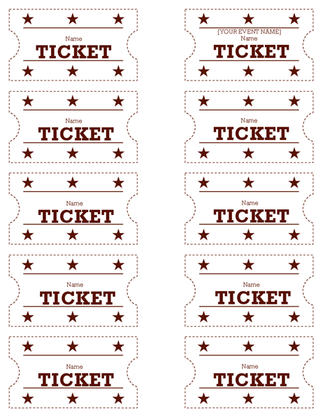 Event tickets (ten per page)