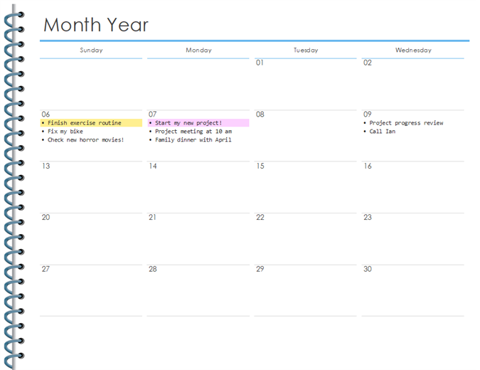 Monthly personal planner