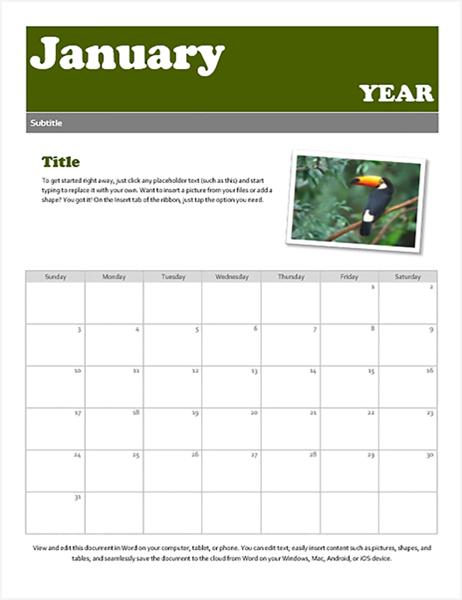 Snapshot calendar