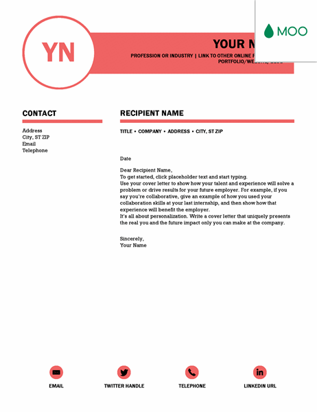 Polished cover letter, designed by MOO