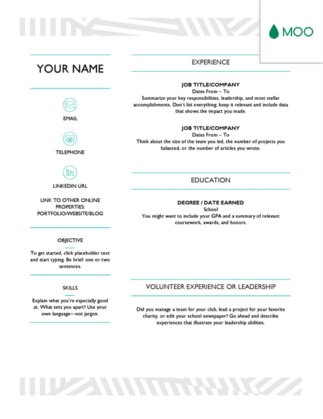 Creative resume, designed by MOO