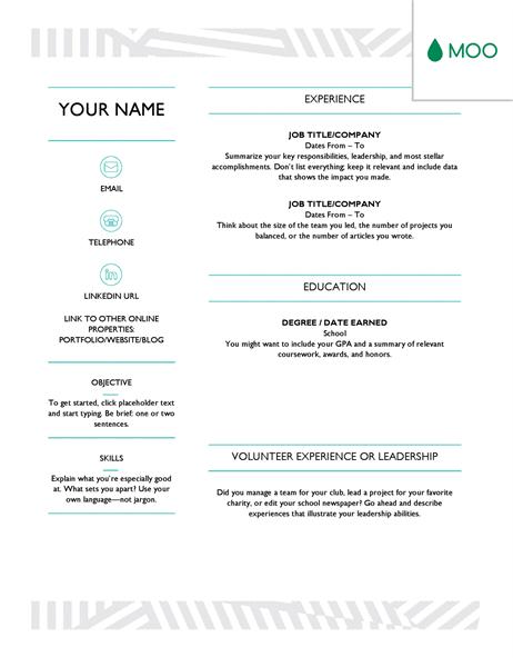 Creative resume, designed by MOO