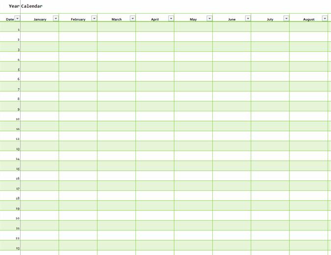 Any Year Calendar (vertical)