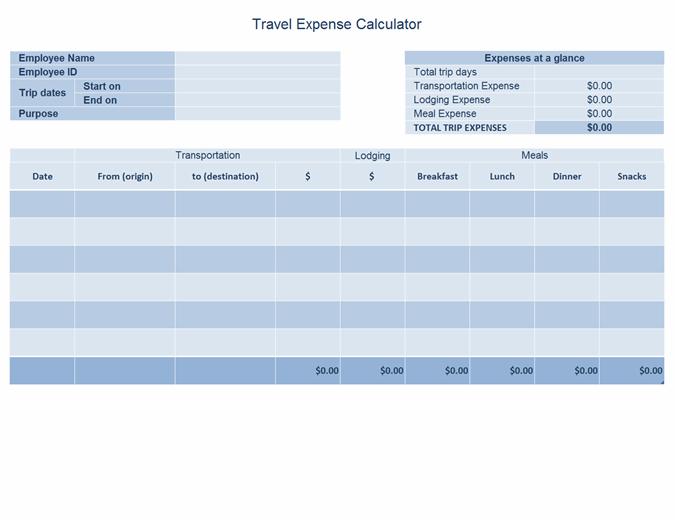 Travel expense log
