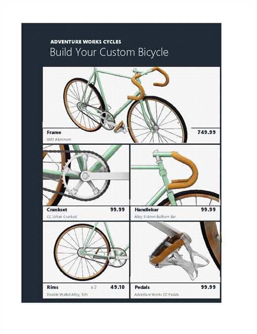 3D Excel product catalog (Bike model)
