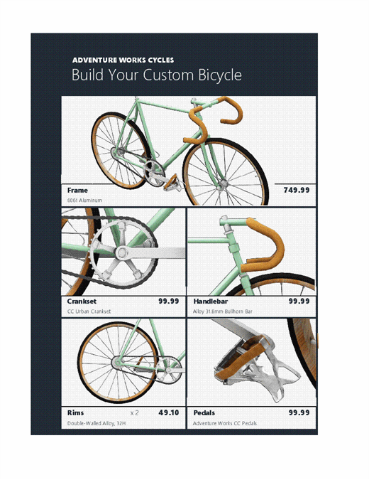 3D Excel product catalog (Bike model)